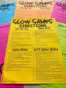 Glow Games Directions